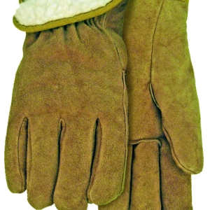 Lined Russet Suede Leather Gloves